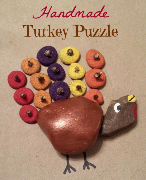 Handmade Turkey Puzzle {30 Days of Thanksgiving Activities for Kids }  ~  HowToHomeschoolMyChild.com