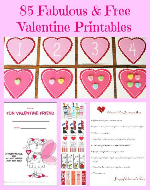 Free printable Valentine's Day cards, games and activities