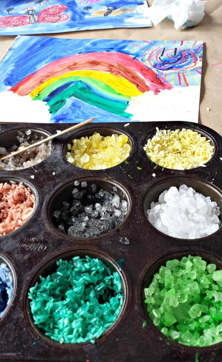 Using watercolors to dye rock salt and rice