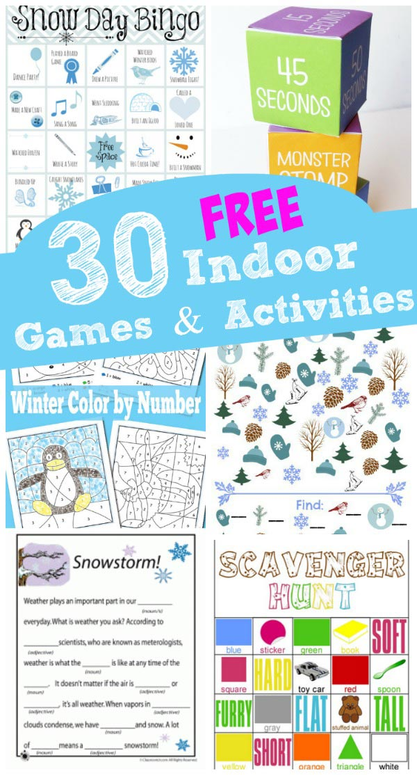 Great indoor Winter games & activities for kids with free printables
