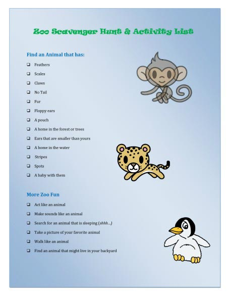 Zoo Scavenger Hunt for kids